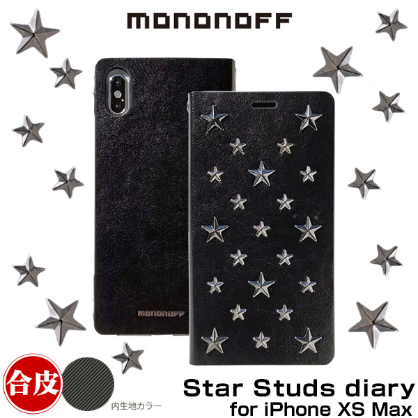 mononoff Star Studs diary for iPhone XS Max(ブラック)