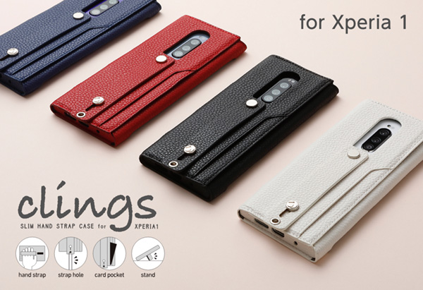 Clings SLIM HAND STRAP CASE for Xperia 1