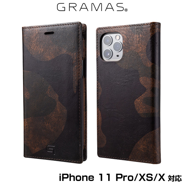 GRAMAS Desert Storm Genuine Leather Book Case for iPhone 11 Pro iPhone XS X DBC(ダークブラウンカモフラージュ)