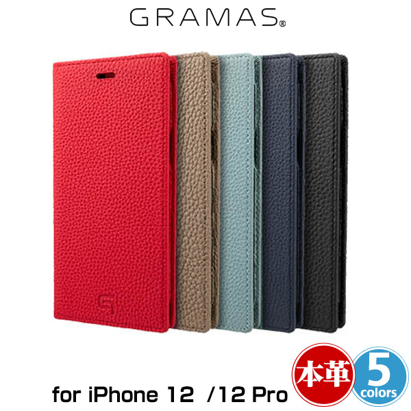 GRAMAS Shrunken-calf Genuine Leather Book Case for iPhone 12 Pro iPhone 12