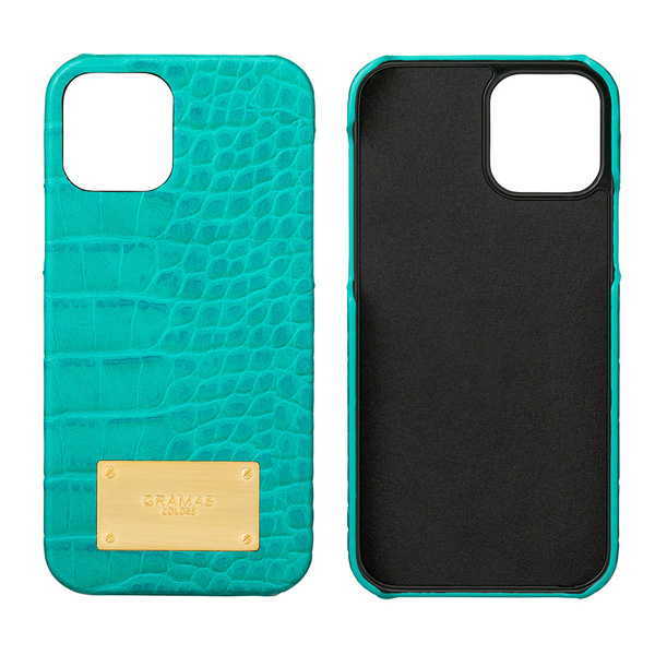 GRAMAS COLORS Croco Embossed PU Leather Shell Case for iPhone 12 Pro iPhone 12