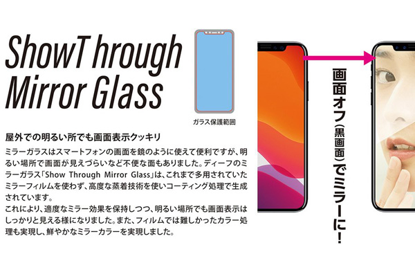 Show Through Mirror Glass(シルバー・平面2.5D) for iPhone 12 Pro iPhone 12