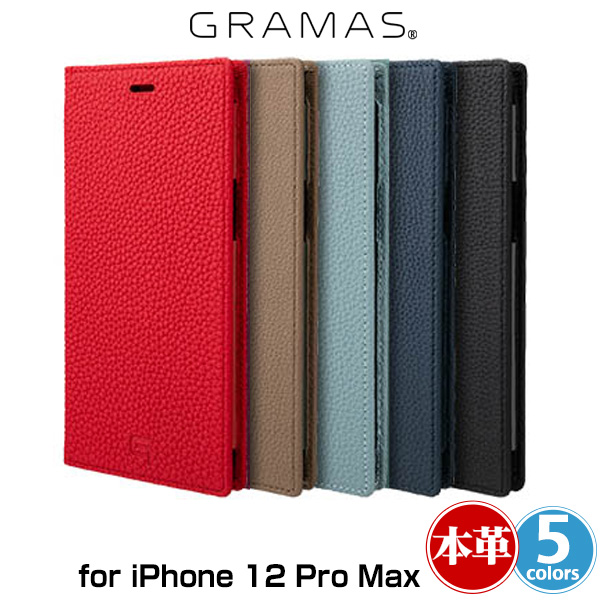 GRAMAS Shrunken-calf Genuine Leather Book Case for iPhone 12 Pro Max