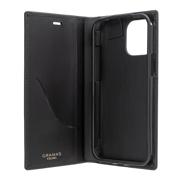 GRAMAS COLORS Italian Genuine Smooth Leather Book Case for iPhone 12 Pro Max