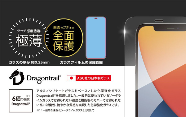 TOUGH GLASS(Dragontrail + 2次硬化) for iPhone 12 Pro Max(マット)